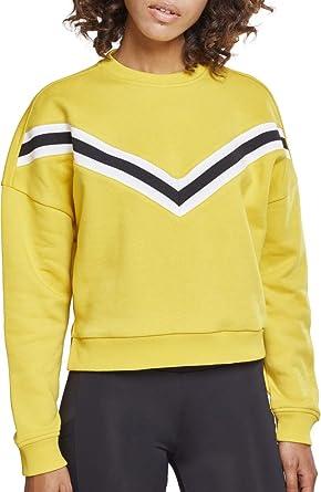 06de1a8ee190af Urban Classics Damen Ladies Inset Striped Crew Pullover, Gelb (Honey  01466), X