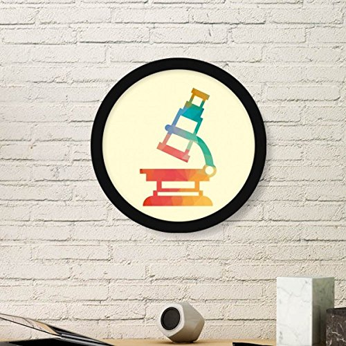 Cartoon Microscope Chemistry Pattern Art Painting Picture Photo Wooden Round Frame Home Wall Decor Gift