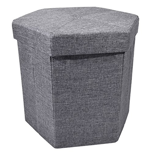 Upholstered Collapsible Hexagon Storage Ottoman with Padded Seat, Folding Bench and Foot Rest, Faux Linen, Charcoal, 15-inch