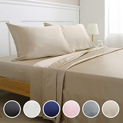 New Full Silk Feel Satin Pillowcase Bed Linens & Sets Pillow Cases Bed Sheet Set Solid Color Deep Pocket