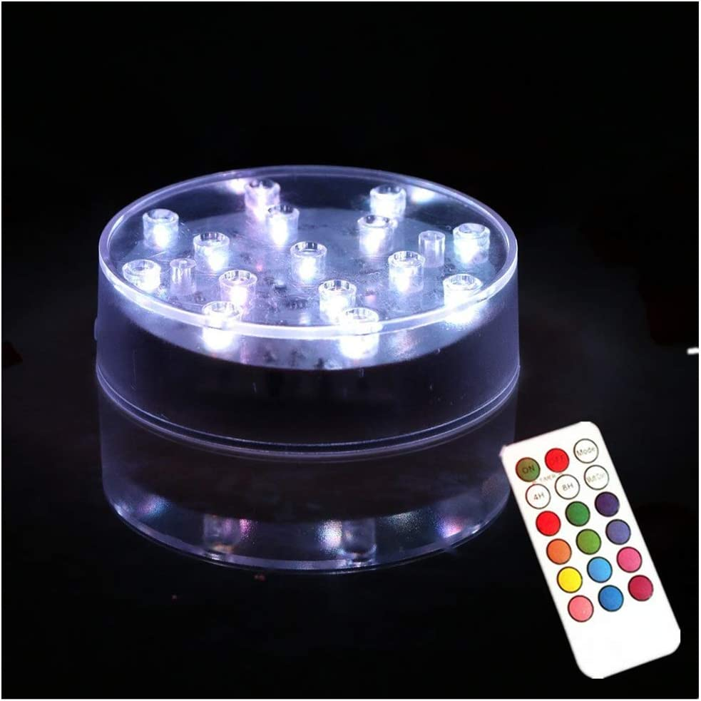 ARDUX 4 inch Round-Shape LED Vase Base Light with 18 Key Remote Control, Charging USB or Battery Powered Pedestal for Home Party Table Plant Decoration