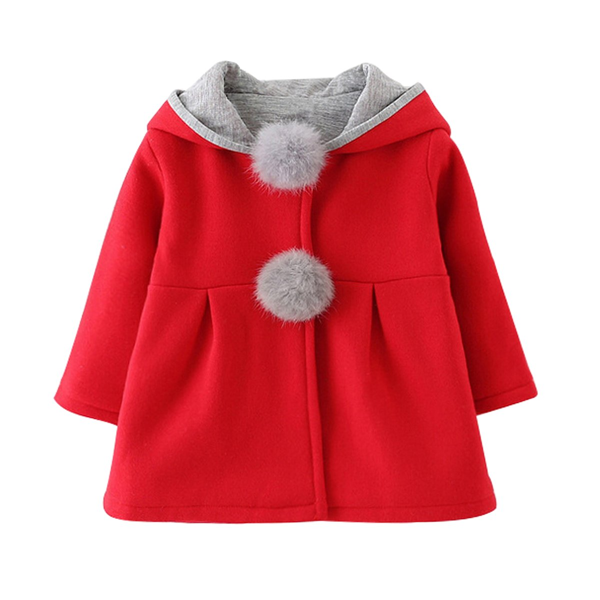 Evaliana Baby Girls Kids Toddlers Rabbit Bunny Ears Hoodie Outwear Jacket Coat