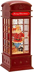 Kurt S. Adler 8-Inch Battery-Operated LED Phone Booth with Santa Water Lantern, Multi