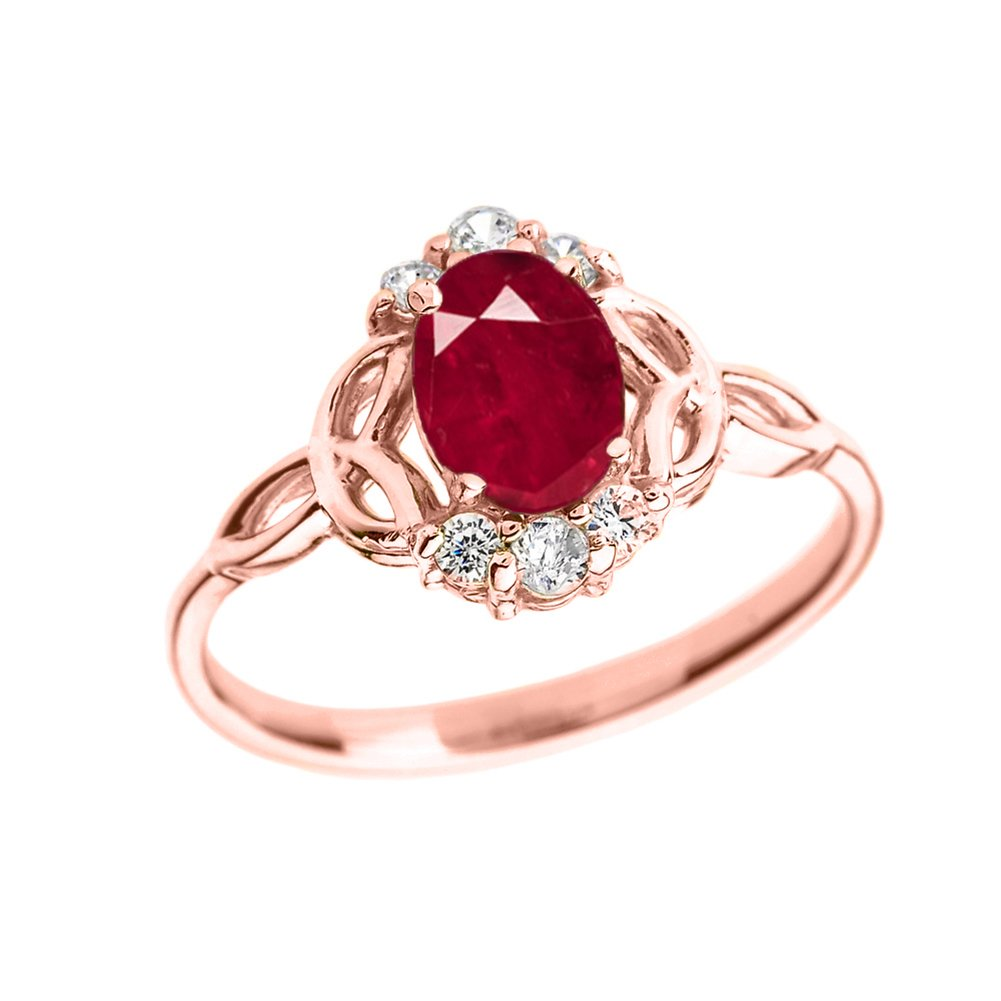Elegant 14k Rose Gold Diamond Trinity Knot Proposal Ring with Genuine Ruby (Size 8)