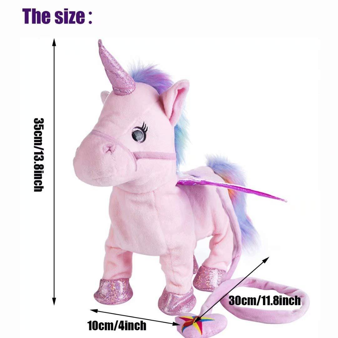 qiaoniuniu Electronic Pet Unicorn - Pink Small Pegasus - Stuffed Unicorn ,Singing Walking Musical Cute Plush Toys for Toddlers Girls Boys,Kids & Pets Birthday by qiaoniuniu (Image #2)