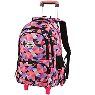 71ed681145 Image Unavailable. Image not available for. Colour  Vbiger Girl s Wheeled  Backpack Trolley School Bag Travel Rolling Backpacks
