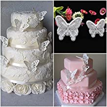 2pcs Food-Grade Plastic Butterfly Shape Mold Cake Fondant Cookie Plunger Cutters Color:white