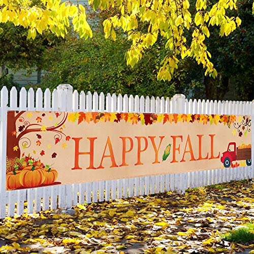 Large Happy Fall Banner, Fall Decorations, Thanksgiving Decor, Fall Maple Leaves Pumpkin Banner, Autumn Fall Party Outdoor & Indoor Decor Supplies(8.2 x 1.5 FT) (Party Fall Outdoor)