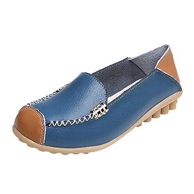 Mujer Mocasines Plataforma Casual Loafers Primavera Verano Cuero Zapatos de Cuña Zapatos Planos Antideslizantes cómodos al Aire Libre del Barco de los ...