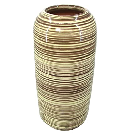 Amazon Sagebrook Home Vc10308 04 Striped Vase Brown Ceramic 7