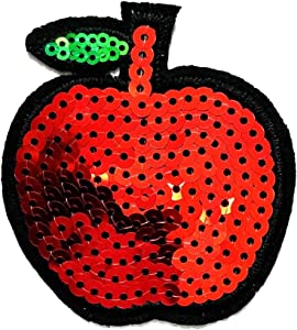 PP Patch Sequin Apple Fruit Green Leaves Cartoon Cartoon Stickers Iron on Embroidered Patch Applique Sew on Uniform Jeans Clothes Bag Dress Hat Cap Polo Backpack Ideal for Gift Kids Children