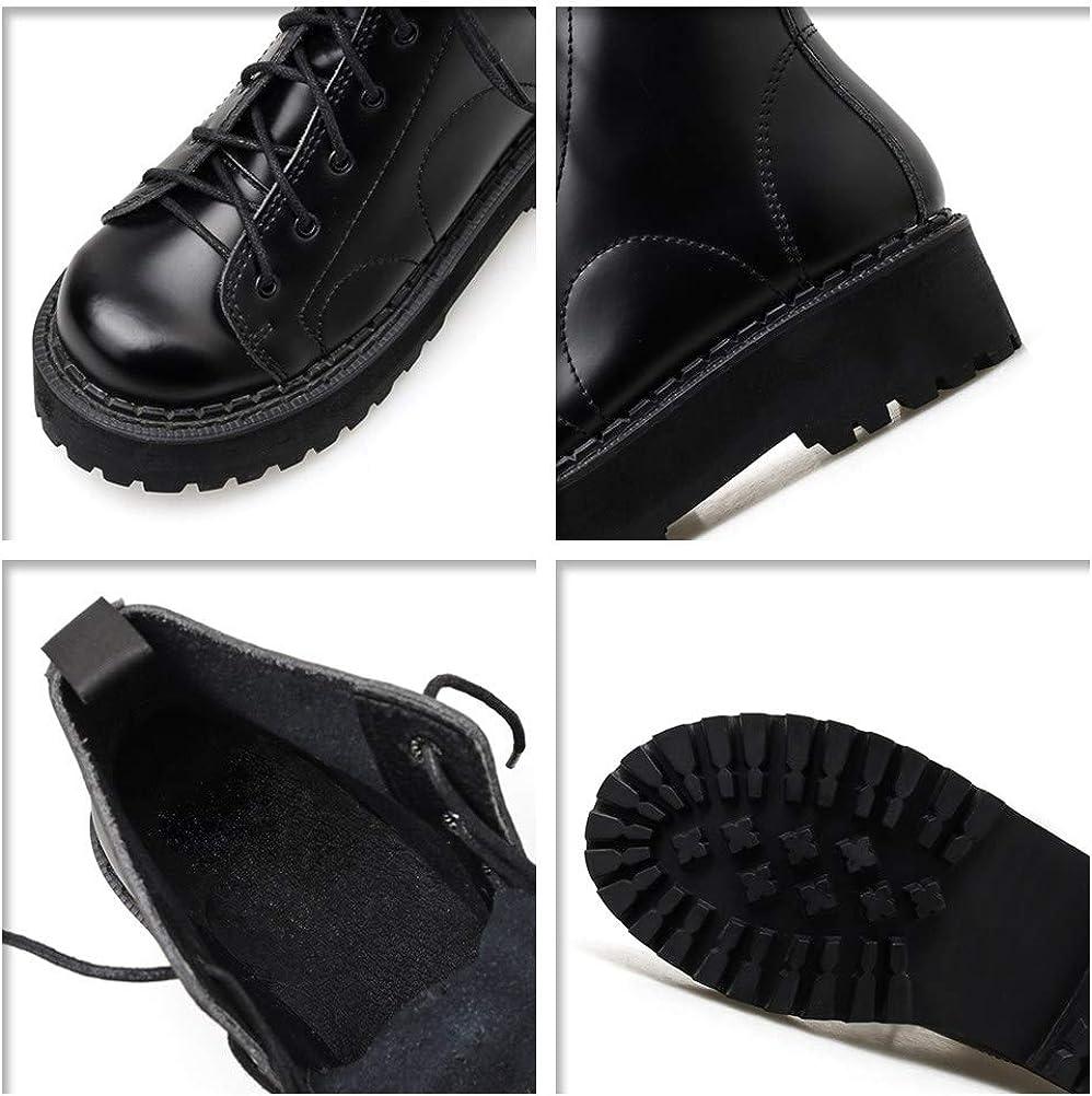 Botas Militares Plataforma con Cordones para Mujer Cuero Botines Tacón Ancho 4 CM Botas De Combate Negro aoRk6