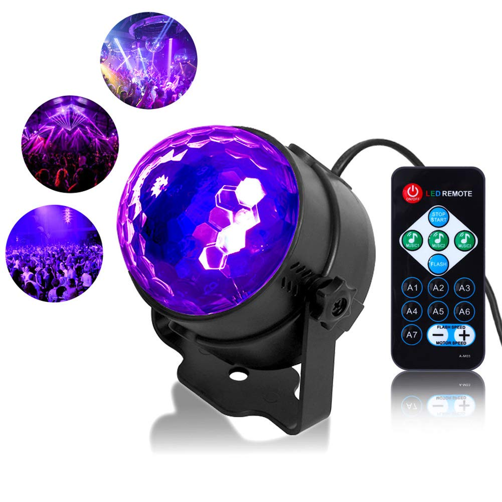 Litake UV Black Light 3W LED Disco Ball Party Lights Strobe Light Disco Lights, Sound Activated with Remote Control Dj Lights Stage Light for Festival Bar Club Party Wedding Show Home