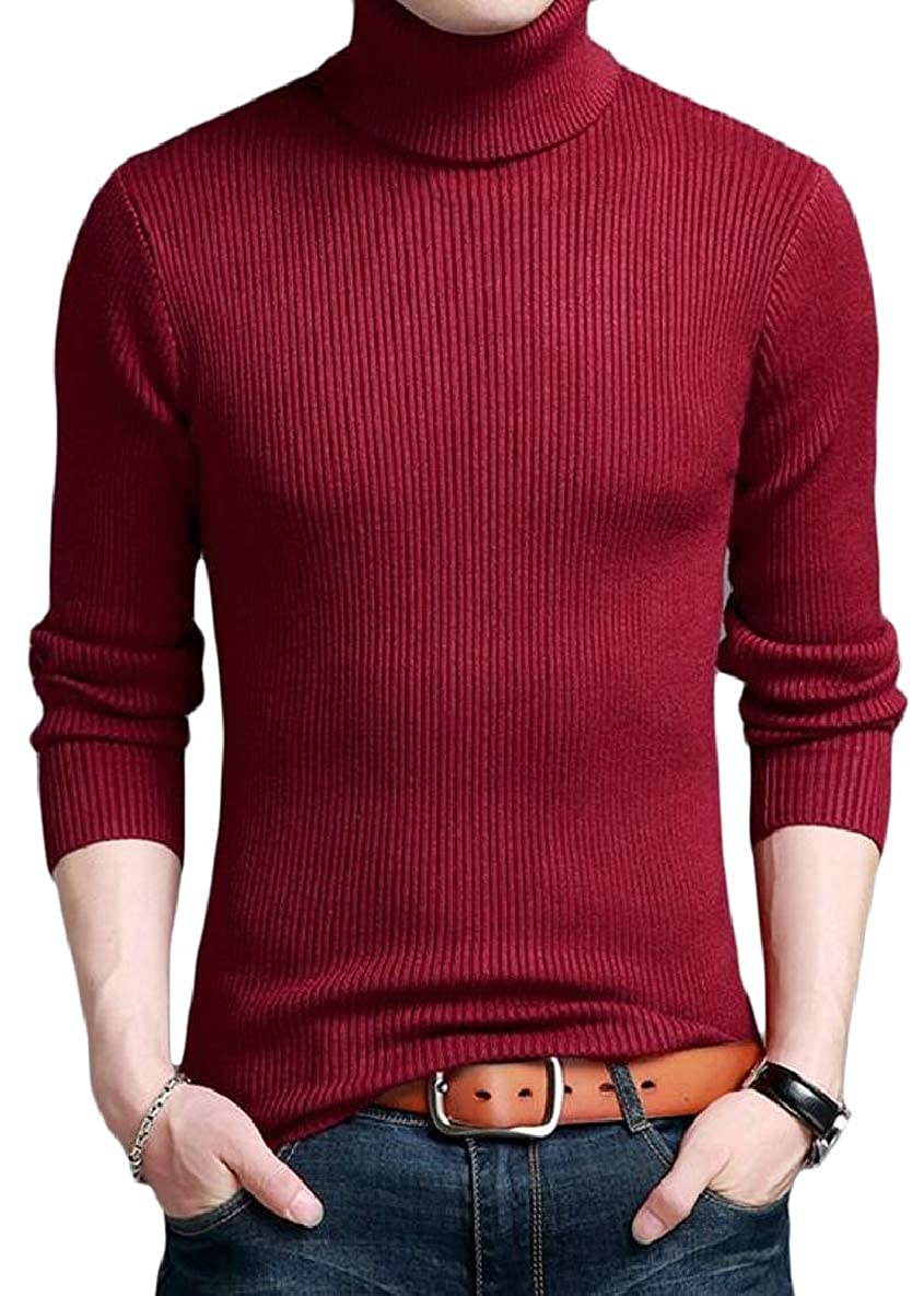 xtsrkbg Mens Knitted Sweater Slim Turtleneck High Neck Top Pullover