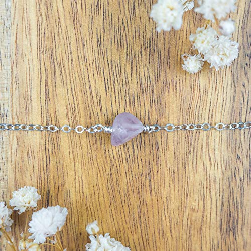 "Raw rose quartz crystal choker necklace in 925 sterling silver - 12"" chain with 2"" adjustable extender - January birthstone"