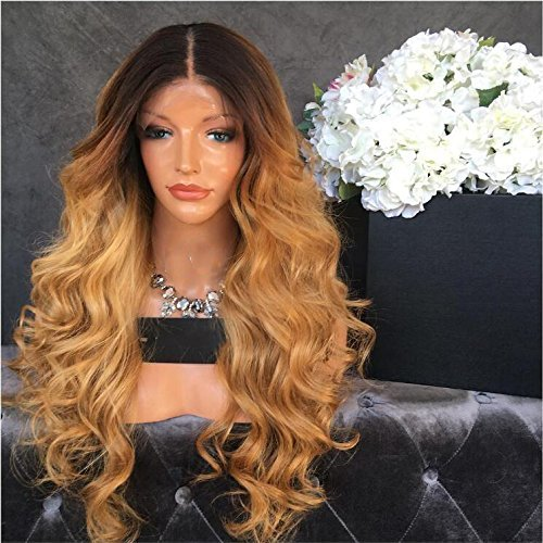 Full Lace Body Wave Human Hair Wigs Glueless Lace Front Wig 1B/27 Color 180% Density with Baby Hair for Black Women (24', full lace wig) by Fantasty Hair (Image #2)