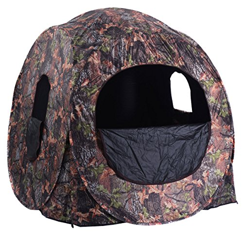 - GYMAX Hunting Tent, 2-3 People Pop Up Hunting Blind Portable Ground Blind with Window and Backpack