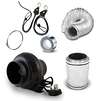 4u0026quot; Carbon Filter Black Orchid Small In Line Fan u0026 Duct Kit - Hydroponic  sc 1 st  Amazon UK & 4
