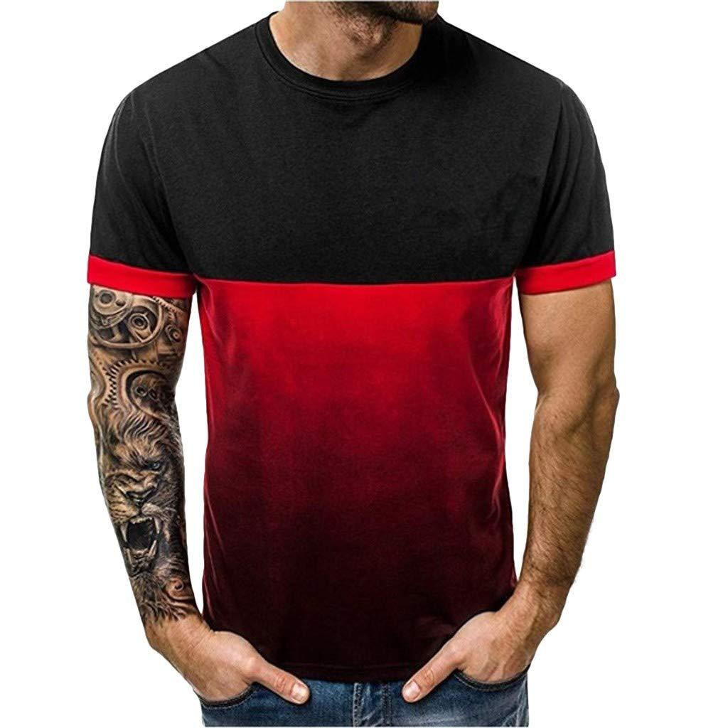 🔥 QINGXIA_ZI Homme Tee Shirt sans Manche, Homme Dégradé Impression T-Shirts à Col Rond Over Size Décontractée Blouse Loose Casual Simple Tank Top en Coton d'Eté Homme Vest Chic