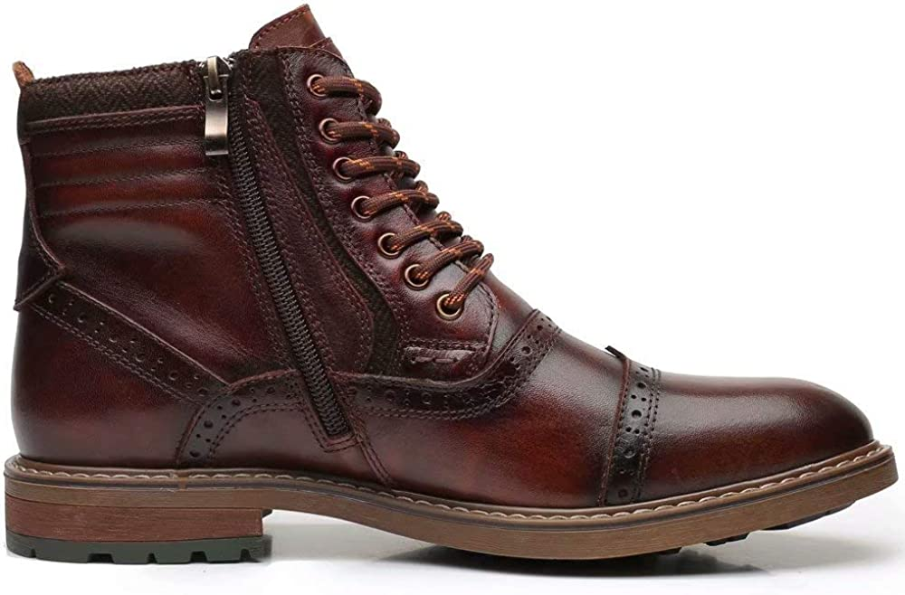 Mens Chelsea Boots Brown Stylish and Comfort Leather Chukka Ankle Boots with Zipper