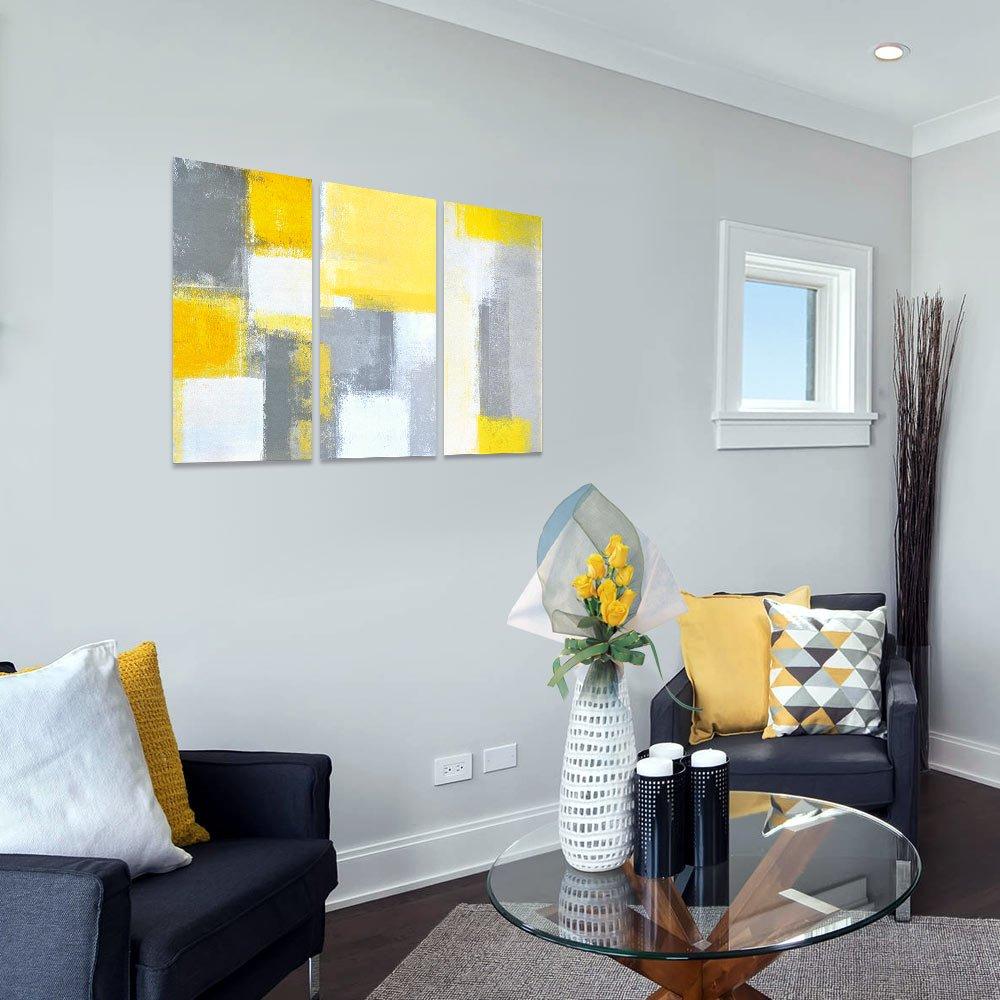 Amazon.com: SUMGAR Abstract Wall Art Yellow and Grey Paintings on ...