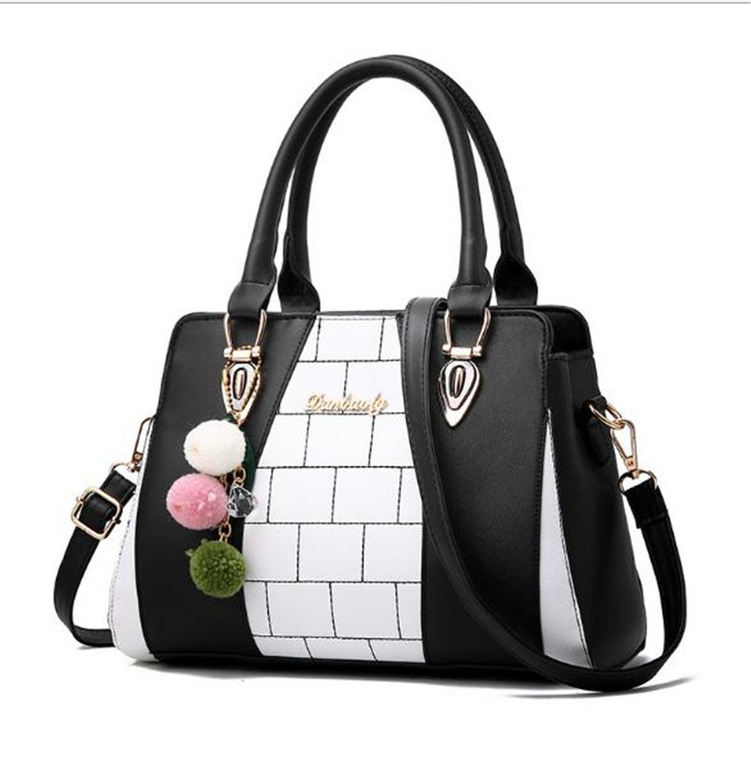 Women Pu Leather Vintage Handbags Women Messenger Bags Designer Crossbody Bag Ladies Tote Shoulder Bag Top-Handle Bags Black 29cm