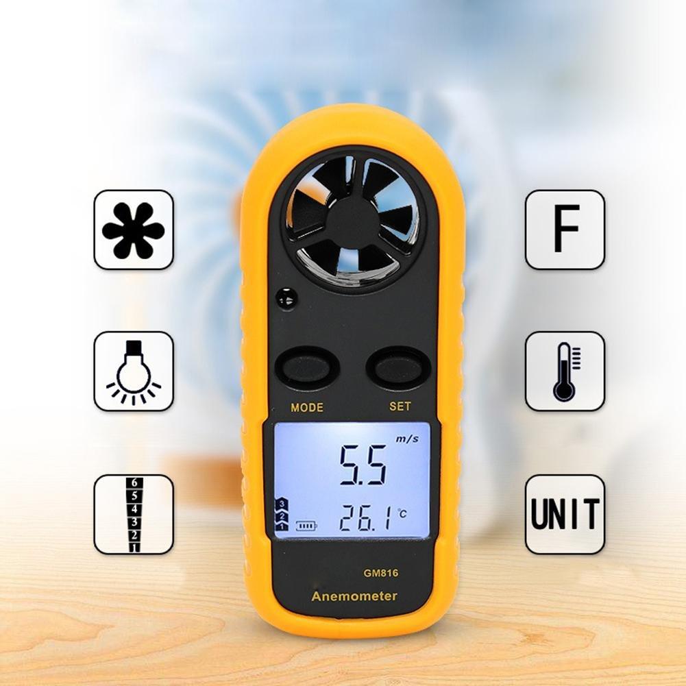 RUNGAO anémomètre numérique portable Vitesse du vent Mètre pour mesurer la vitesse de vent, température et coupe-vent avec rétroéclairage et max/min