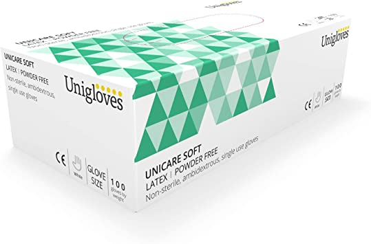 Box of 100 Unigloves UCLPF1202 Small Latex Powder Free Gloves