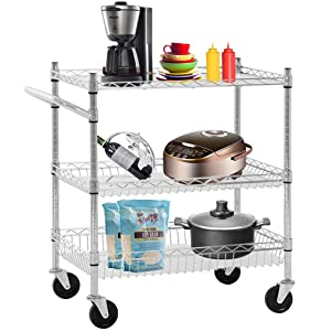Heavy Duty Utility Cart Wire 3 Tier Rolling Cart Organizer NSF Kitchen Cart on Wheels Metal Serving Cart Commercial Grade with Wire Shelving Liners and Handle Bar for Kitchen Office Hardware,Chrome