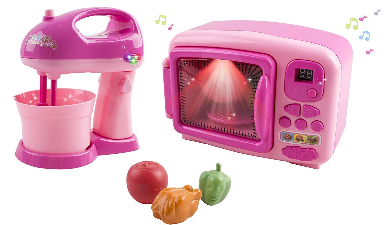 Toy Microwave and Mixing Blender Children's Kitchen Pretend Play Playset Battery Operated Appliance Set with Food Pieces Perfect for Early Learning Educational Preschool Girls Cooking Toys Pink