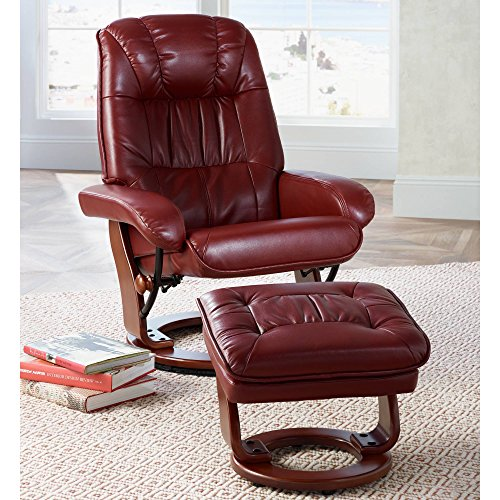 - Kyle Ruby Red Faux Leather Ottoman and Swiveling Recliner