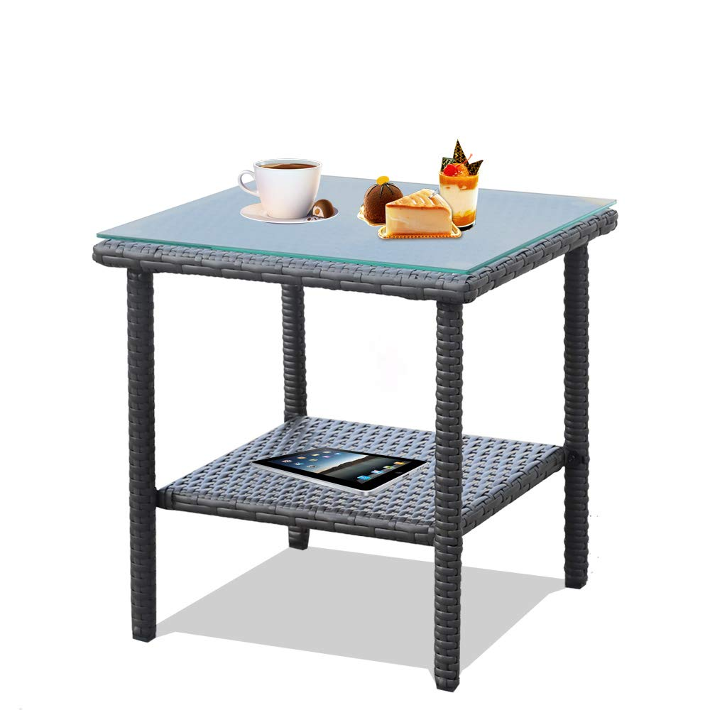 LEAPTIME Patio Side Table Coffee Table Tea Table Dark Brown Rattan Outdoor Indoor Square Table Balcony Small End Table