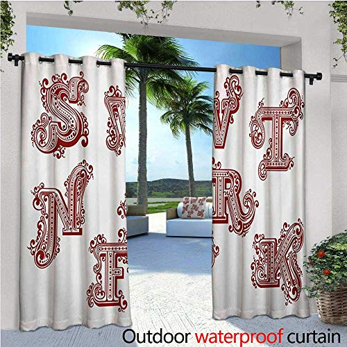 e Standing Outdoor Privacy Curtain Uppercase Letters in Vintage Swirly Style Ornate with Twisted Lines and Curlicues for Front Porch Covered Patio Gazebo Dock Beach Home W108 x L ()