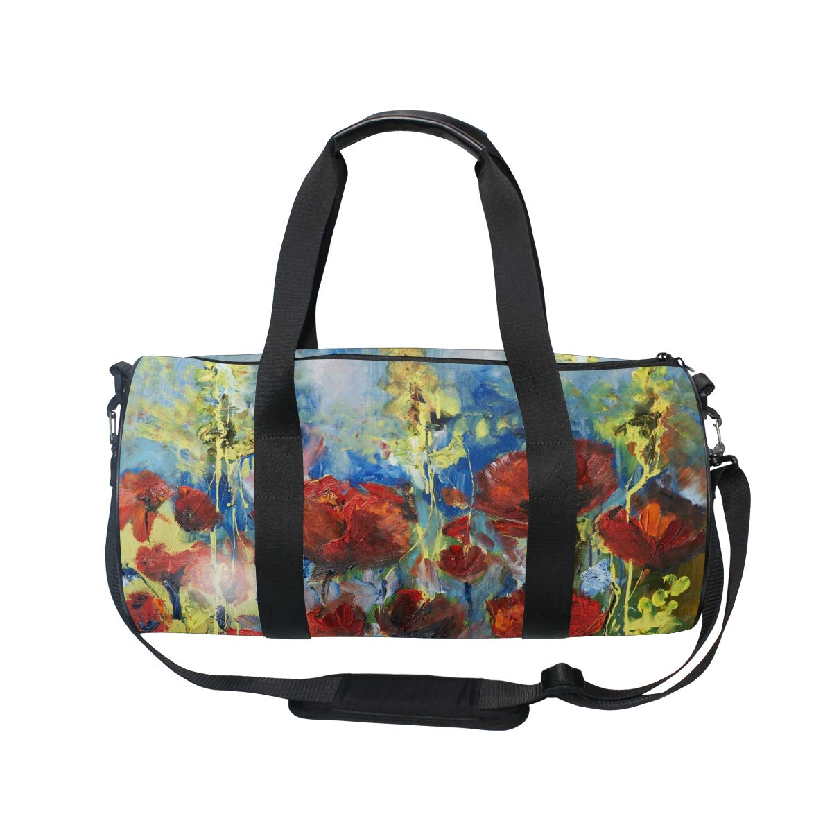 WIHVE Gym Duffel Bag Oil Painting Red Spring Poppy Sports Lightweight Canvas Travel Luggage Bag