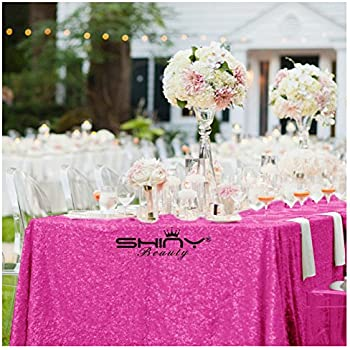 Etonnant ShinyBeauty Sequin Tablecloth Rectangle Hot Pink 90x156Inch