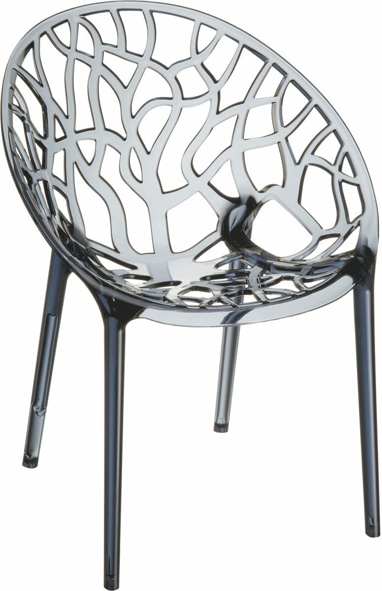 Compamia Crystal Polycarbonate Patio Dining Chair in Smoke Gray, Commercial Grade