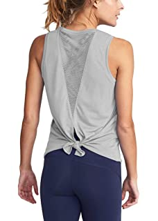 53bd3929c48 Mippo Women s Cute Yoga Workout Mesh Shirts Activewear Sexy Open Back  Sports Tank Tops