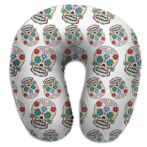 (NiYoung Neck Pillow Travel Pillow Compact Diamond Mexico Sugar Skull Pillow Neck-Supportive Plane Pillows, Breathable & Comfortable, Travel Restful Sleep Neck Pillow Machine Washable)