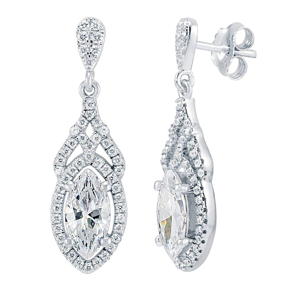 2.00 Ct Marquise /& Round Cut Simulated Diamond Halo Dangle Earrings .925 Sterling Silver