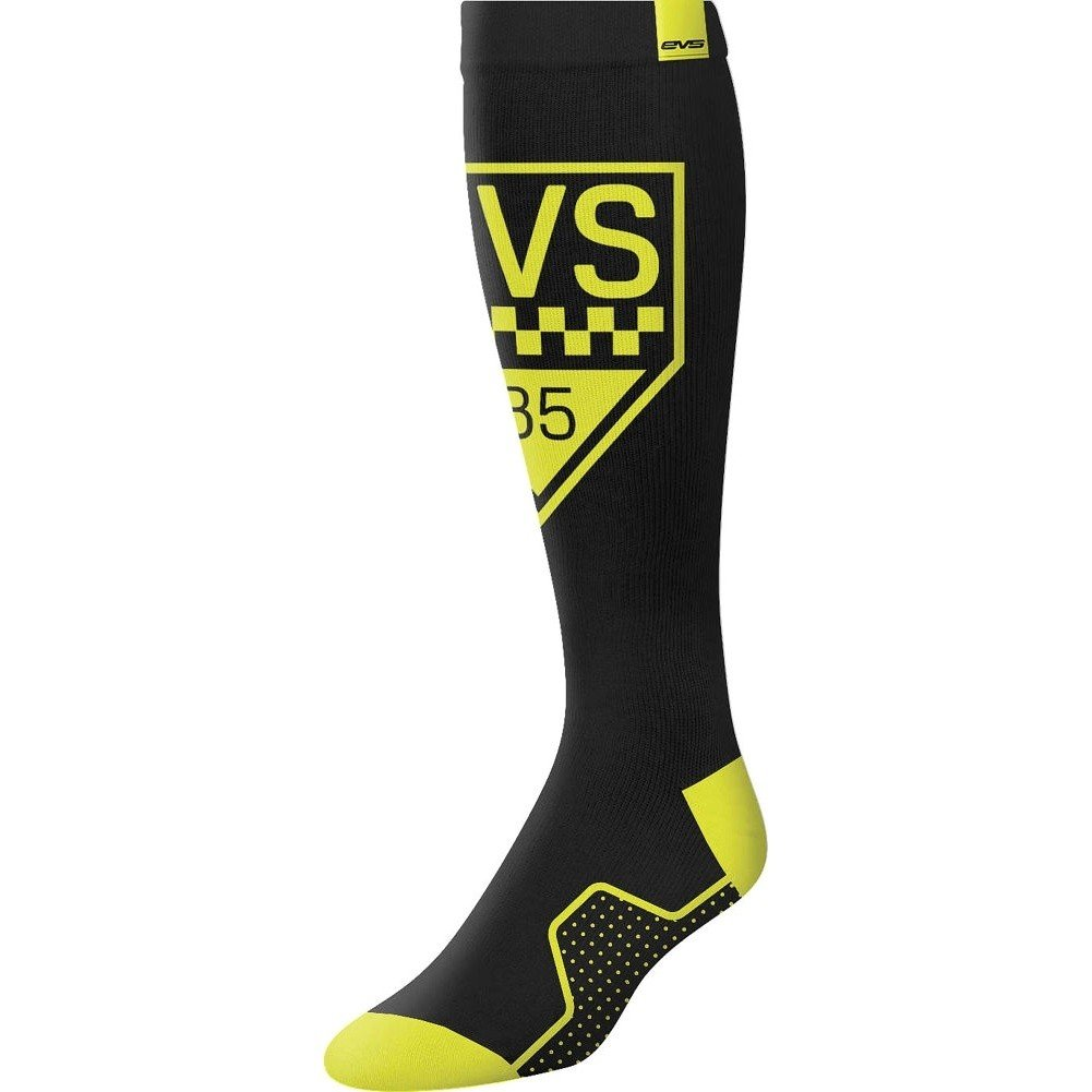 EVS Sports  unisex-adult Moto Sock - Circuit (Black, Large), 1 Pack