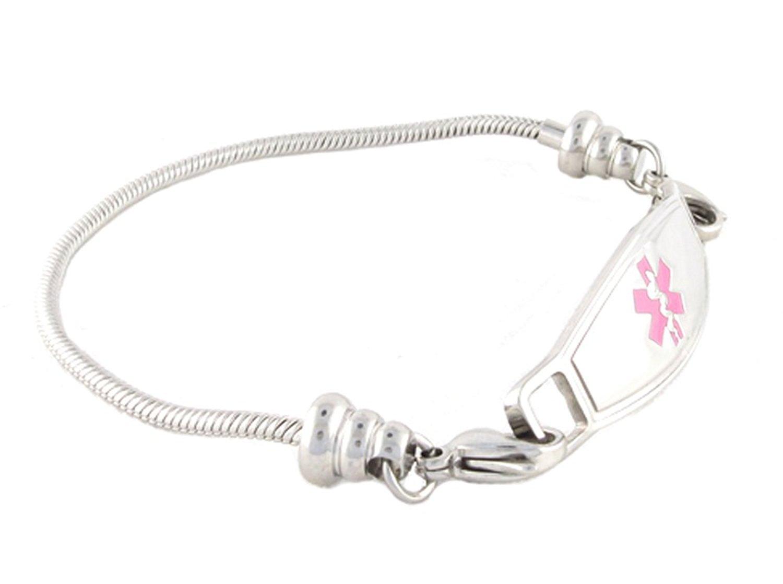 N Style ID Women's Beaded Pan-dorra Style PRE-ENGRAVED''Lymphedema Alert Right Arm'' Medical Id Bracelet - Pink 6.75