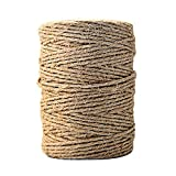 CiaraQ Jute Twine Natural Thick Jute String 6Ply Arts and Crafts Jute Rope for Floristry, Wedding Card, DIY Crafts, Gift Wrapping Decoration, Bundling, Garden and Recycling (Brown, 328 Feet)