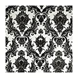 Tempaper Designs DA 005 Damsel Self-Adhesive Temporary Wallpaper, White and Black