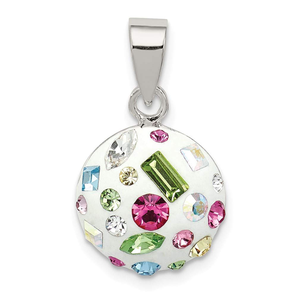 Sterling Silver Jewelry Pendants /& Charms Solid 18 20 Multi-Stellux Crystal Round Pendant