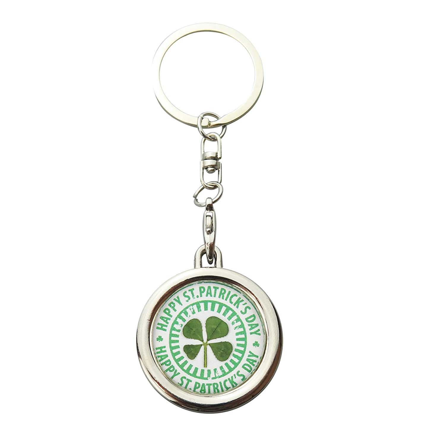 Amazon.com  St. Patrick s Day Real Shamrock Lucky Four Leaf Clover Keychain   Jewelry 5ee175827ec3