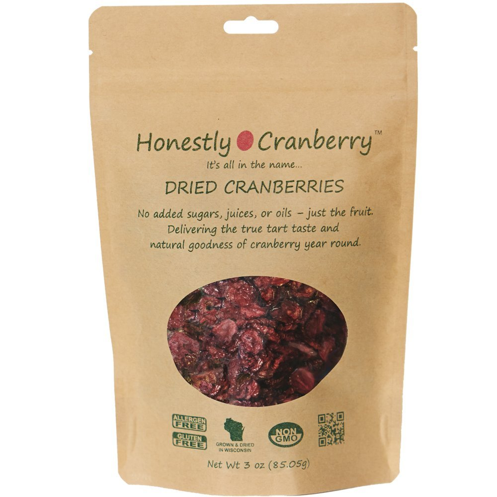 Honestly Cranberry - Unsweetened Dried Cranberries- no added sugars, juices, or oils - Just the fruit. 3 ounce bag