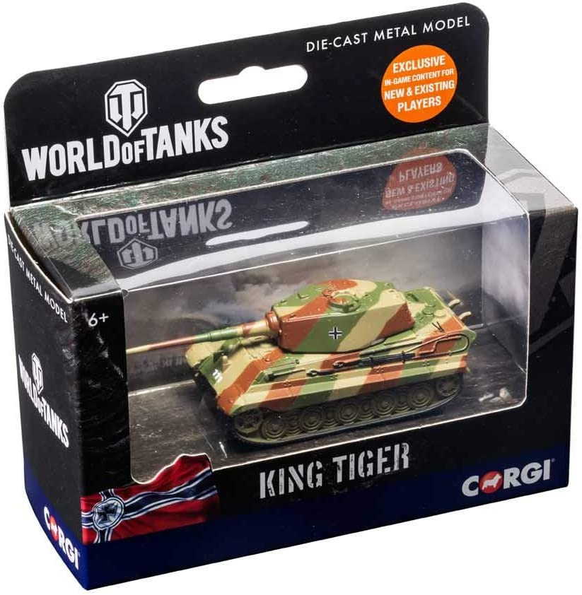 Corgi Diecast World of Tanks King Tiger Tank with in Game Codes Military Fit The Box Scale Model WT91207