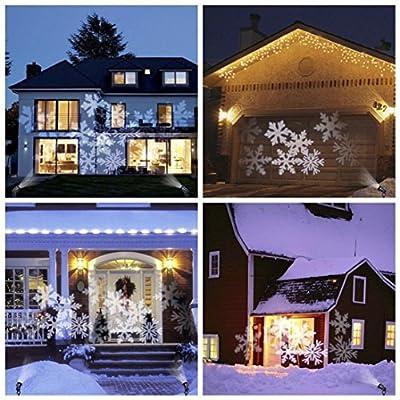 jiayit Christmas Lighting Waterproof LED Christmas Snowflake Projection Light Garden Lawn Decorative Lamp