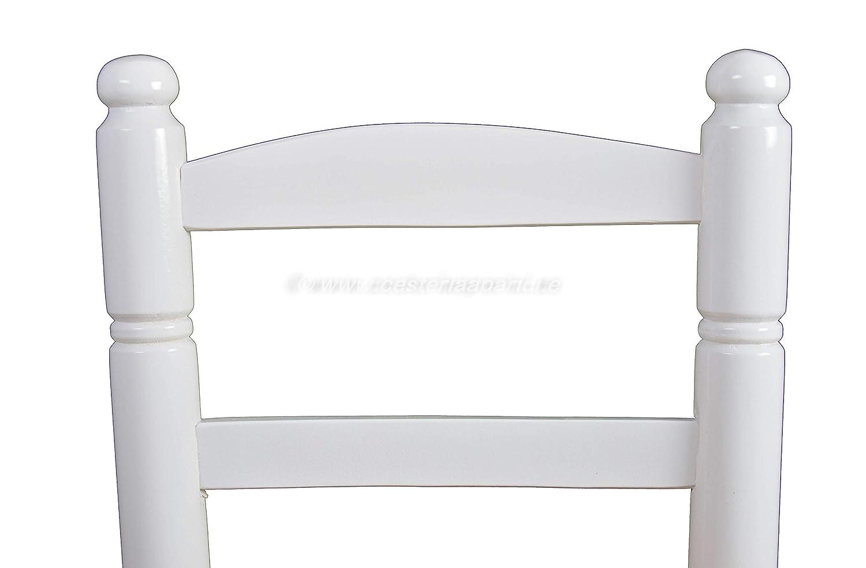 Asiento 30cm x30cm-Alto Asiento 24cm-Alto Respaldo 50cm Cesteria Aparici Silla de Enea Infantil lacada en Blanco