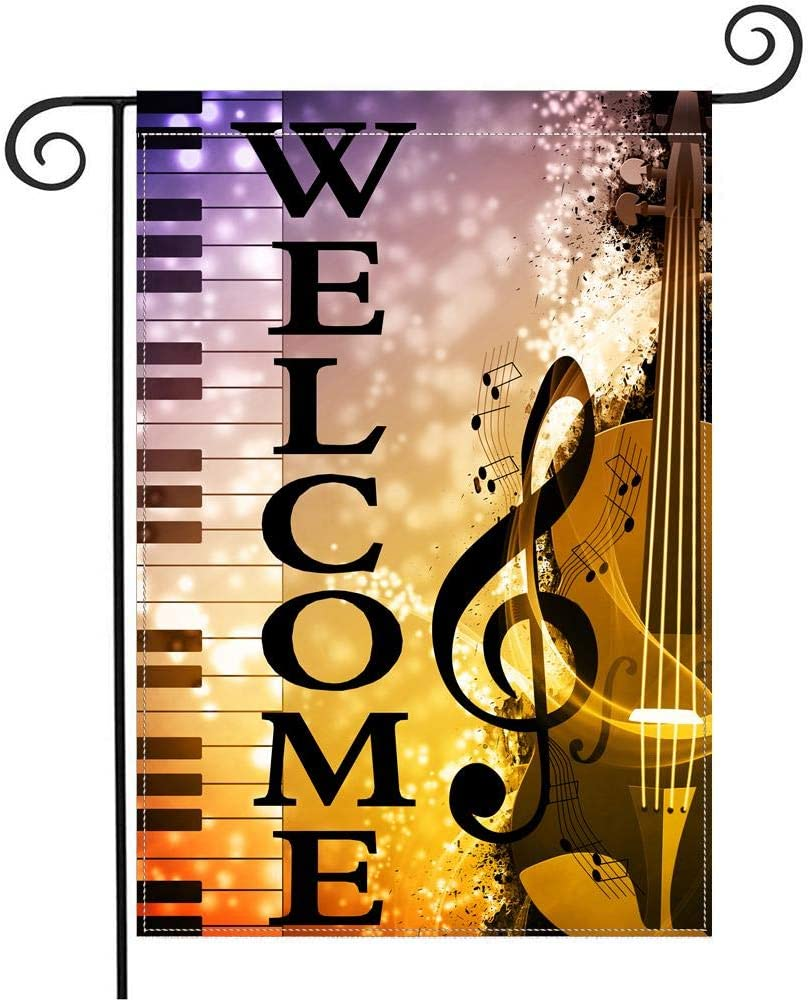HOOSUNFlagrbfa Vintage Piano Violin Music Notes Welcome Garden Flag 12 X 18 Inches, Double Sided Outdoor Yard Yall Garden Flag for Wedding Party House Home Decor